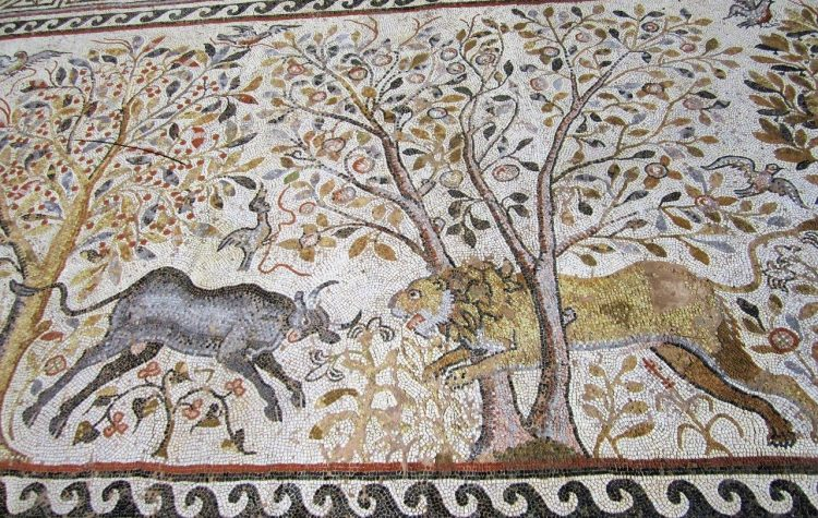 Lion and Bull mosaic in Macedonia