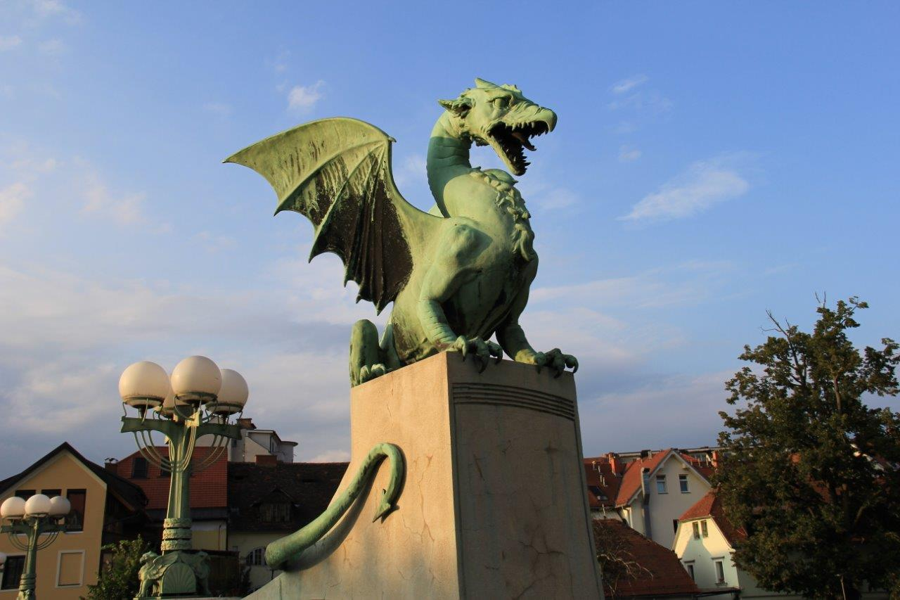 Dragons Bridge Dragon in Ljubljana, Slovenia