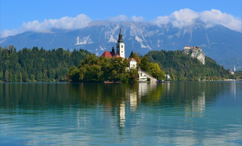 Lake Bled Island with Lake Bled Castle in the background