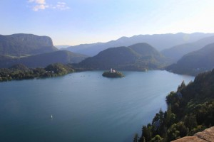 View of Lake Bled from the castle grounds