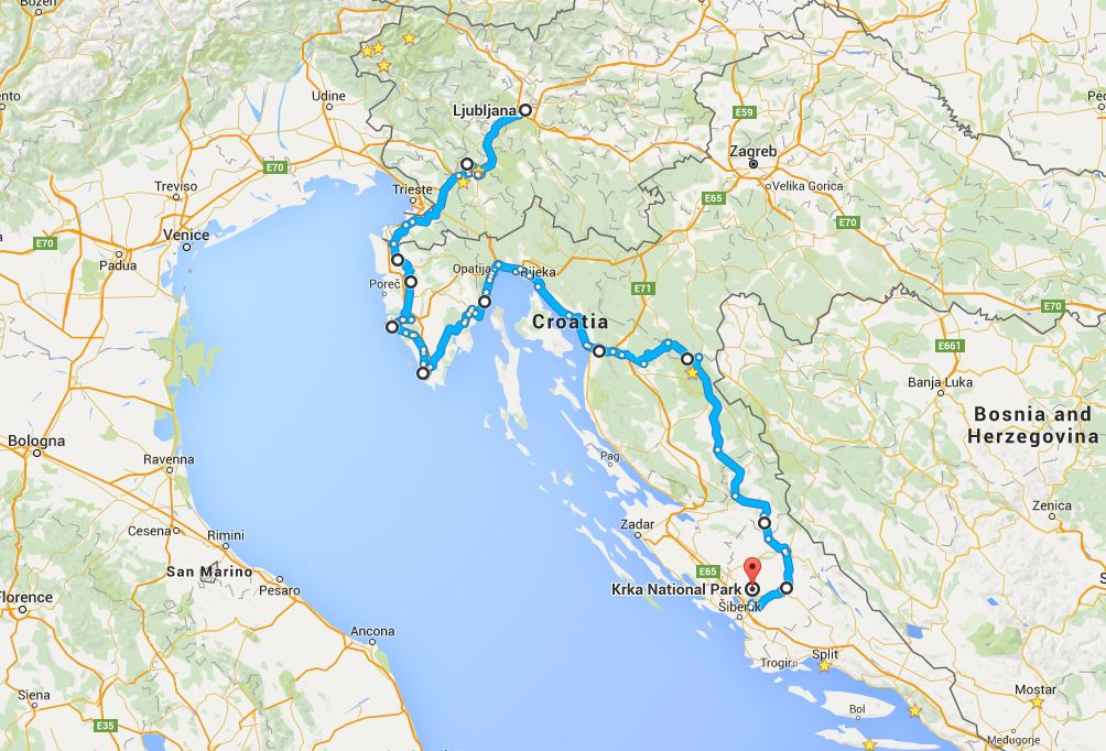 Motorcycle Route through Ljubljana to Plitvice & Krka National Parks