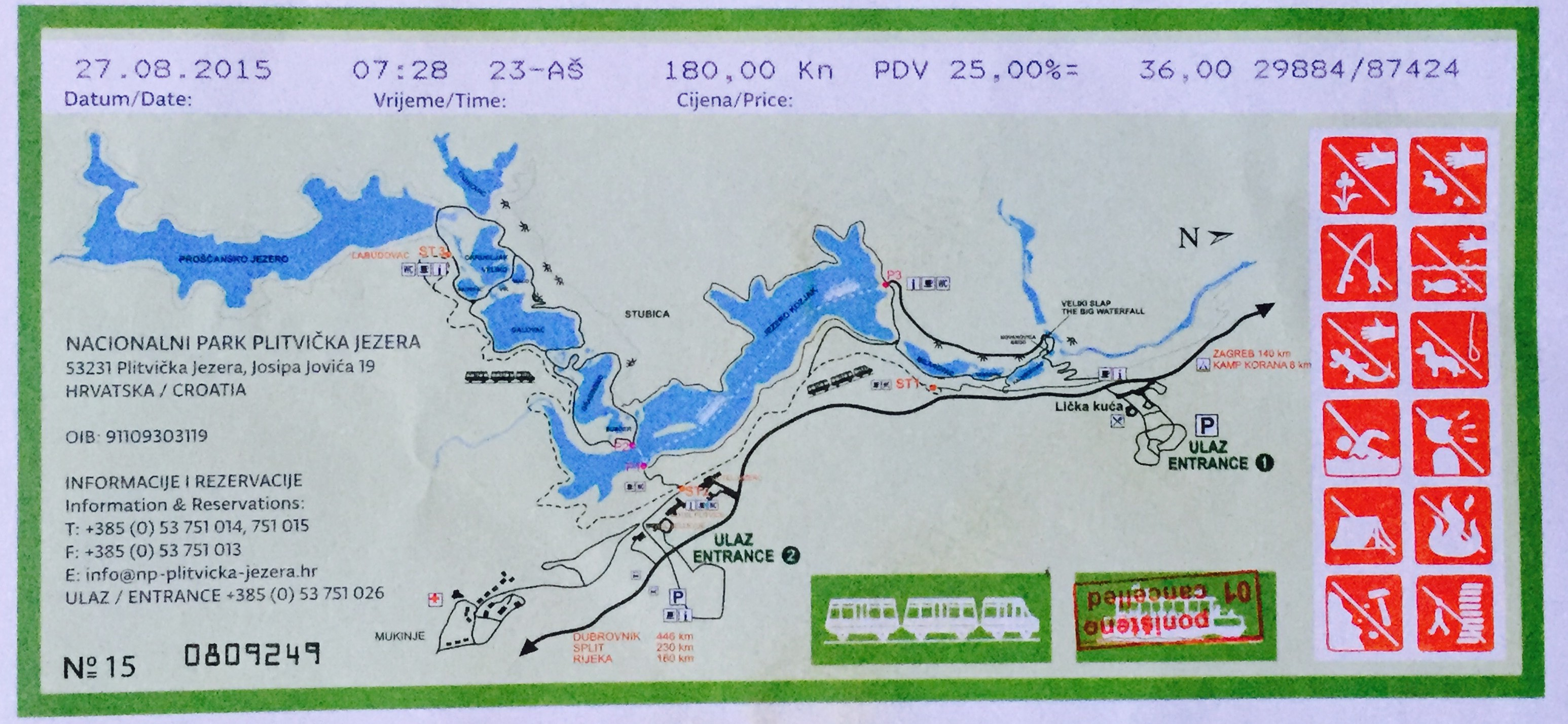 Plitvice Lakes National Park Map / Nacionalni Park Plitvicka Jezera Map