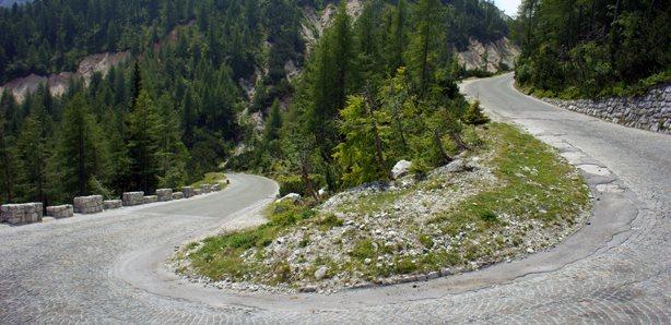 Cobble Turn on Ticarjev Pass in Triglav Slovenia