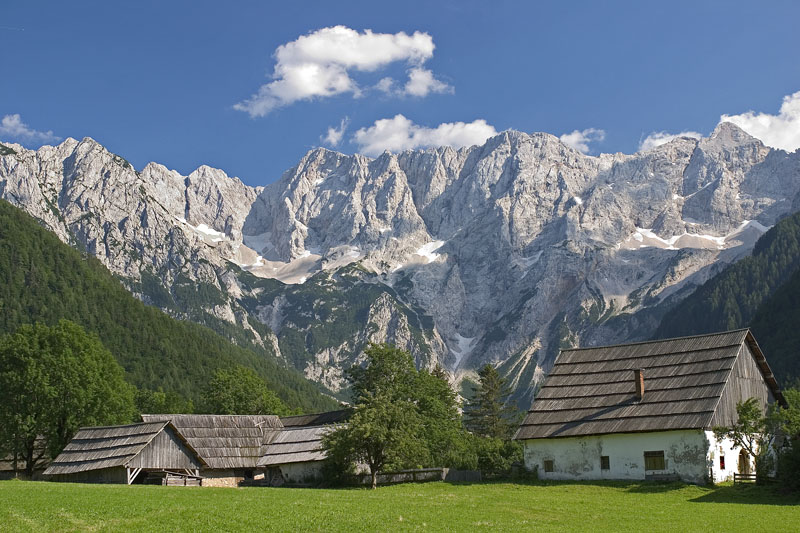 Mountain Huts along Ticarjev Pass in Triglav Slovenia