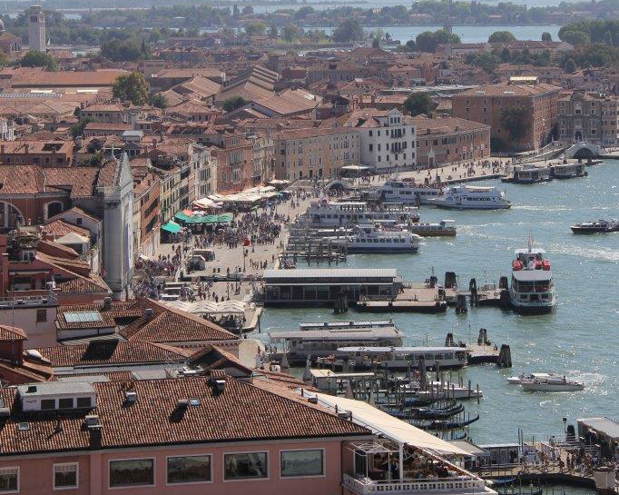 View of the Ferry Stop from the Bell Tower in Venice