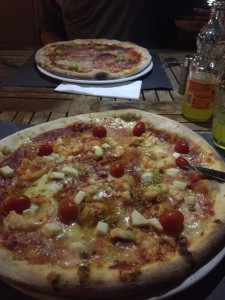 House Special with Shrimp and a Quatro Staggione Pizza in Pula, Croatia