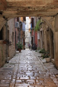 Cobble streets polished smooth by all the foot traffic in Rovinj.