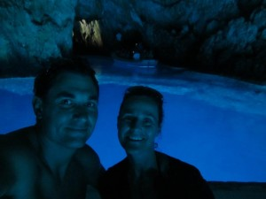TwoUpRiders in the Blue Cave Bisevo Croatia