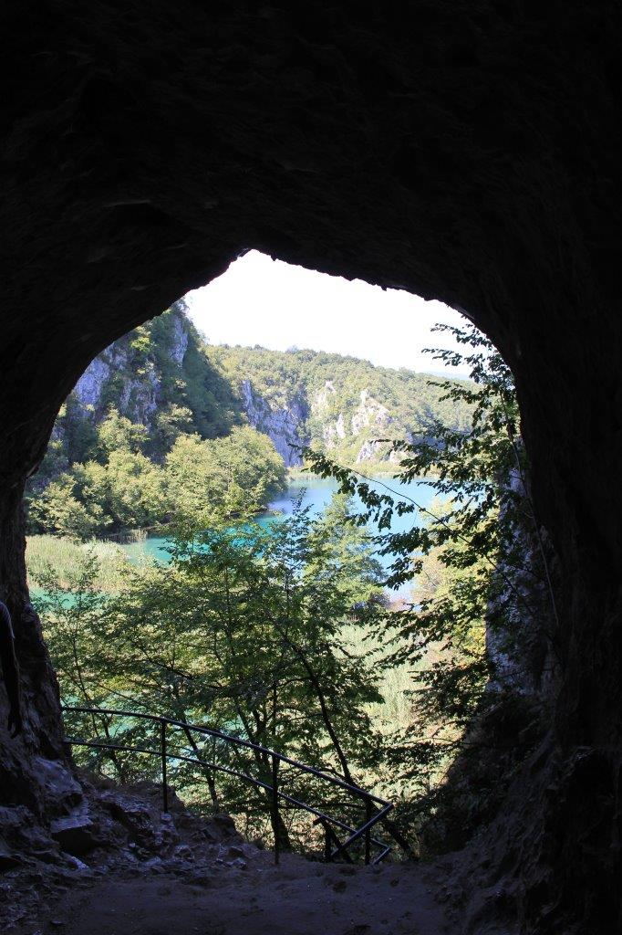 View from a cave along the path at Plitvice