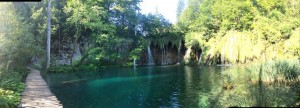 Waterfalls trickling into expansive calm ponds