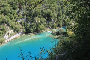 Vista from a high path of the turquoise lakes