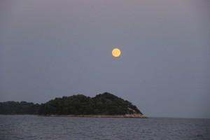 Nighttime view of Solta Croatia on our Catamaran