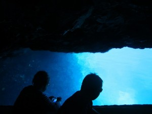 Our friends Chris and Carolyn in the Blue Cave of Biševo