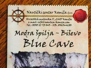 Ticket for the Blue Cave Tour.