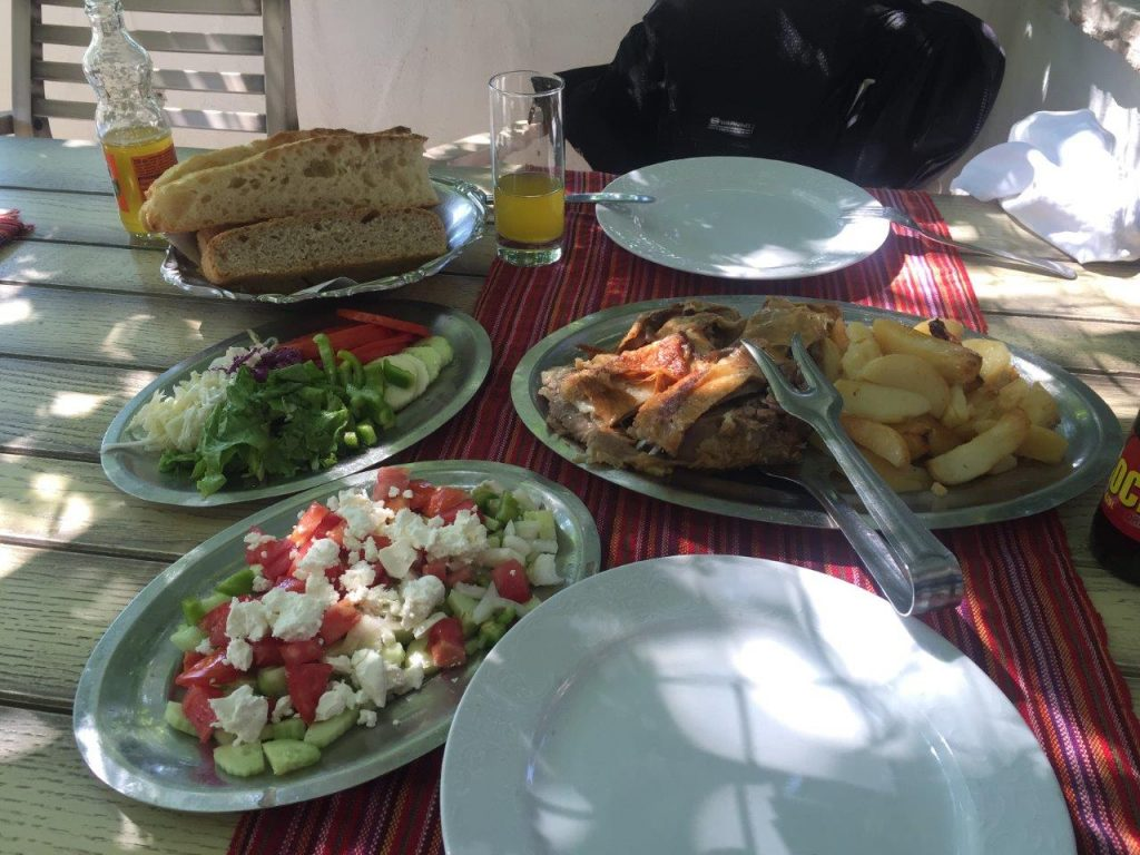 Lamb, Potatoes, salad and home made bread Bosnian Food