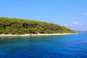Cobalt blue waters of Korcula Island Croatia