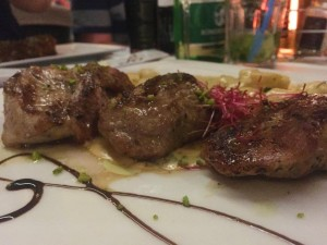 Beautiful pork medallions with gnocci at Don Dinos in Trogir Old Town