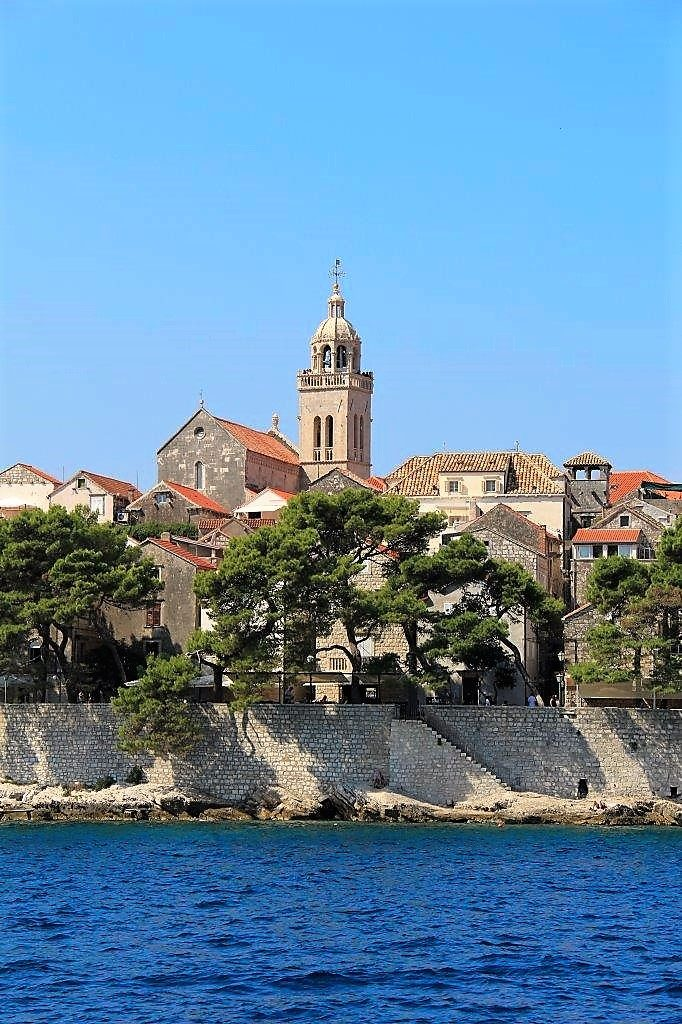 View of Korcula Old Town and Bell Tower