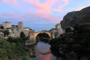 Mostar Bridge at sunset today