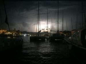 lightening storm at Trogir marina