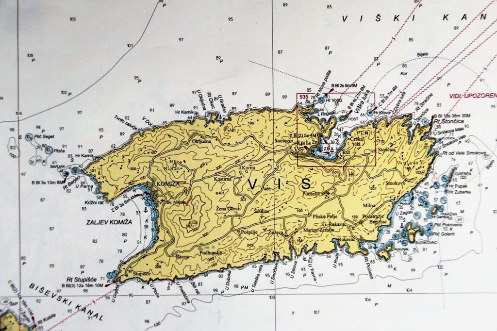 Map of the Island of Vis Croatia