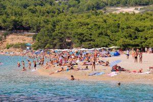 You won't be alone on Zlatni Rat on Brac Island Croatia