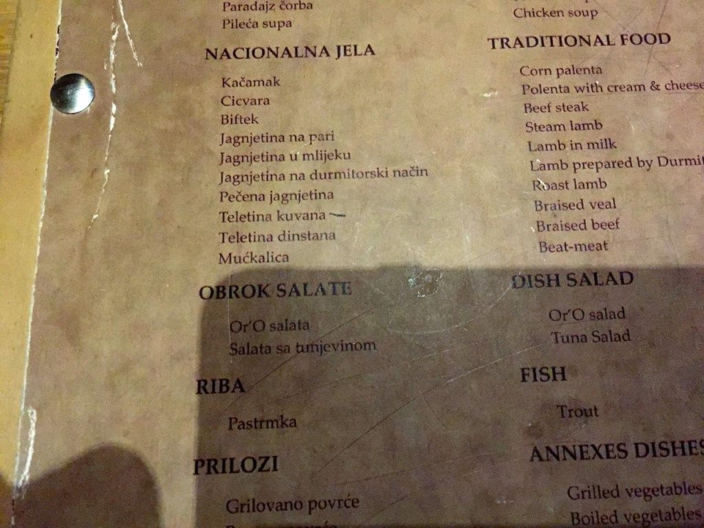 Menu at restaurant in Zabljak
