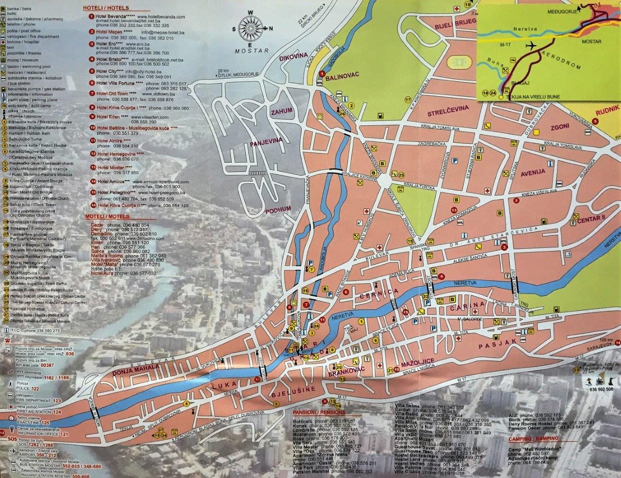 Map of Mostar Best of Mostar