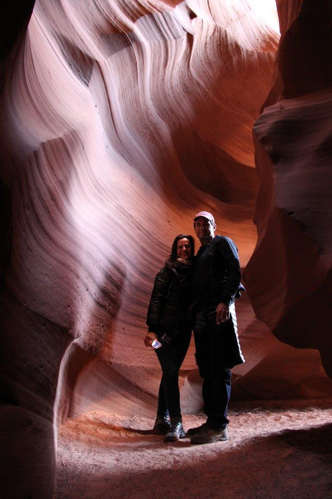 Two Up Riders just inside the upper end of Antelope Canyon