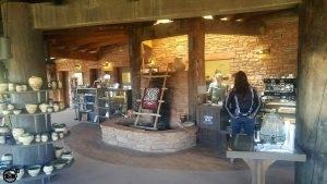 Rustic interior at Kiva Koffeehouse