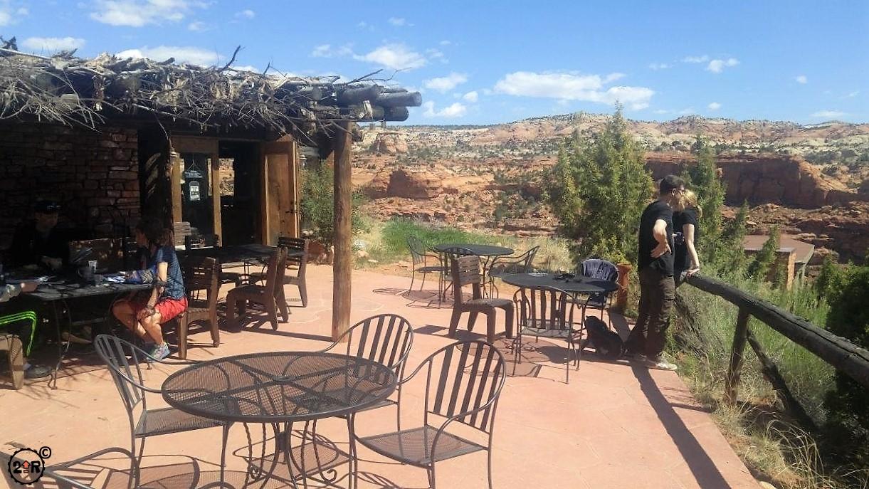 Outdoor seating at Kiva Koffeehouse