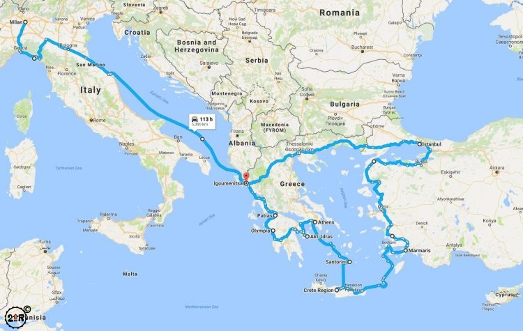 Route Map of Greece & Turkey